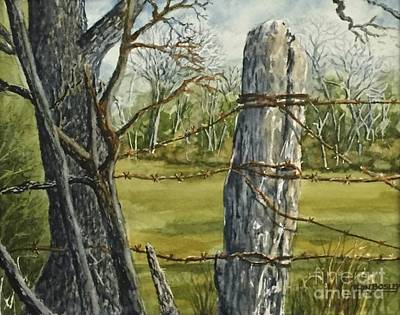 Painting - Texas Fence Post by Don Bosley