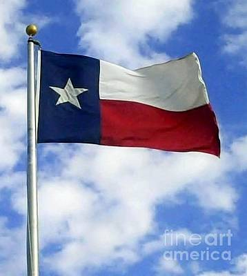 Photograph - Texas Flag In A Texas Sky by Cindy New