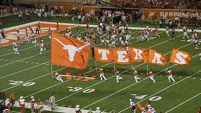 Marching Band Photograph - Texas Flags On Football Field by Luke Pickard