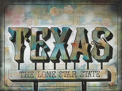 Lone Star State Painting - Texas Folk Art Postcard by Nicklos Richards