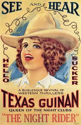 Texas Drawing - Texas Guinan In The Night Rider 1920 by Mountain Dreams