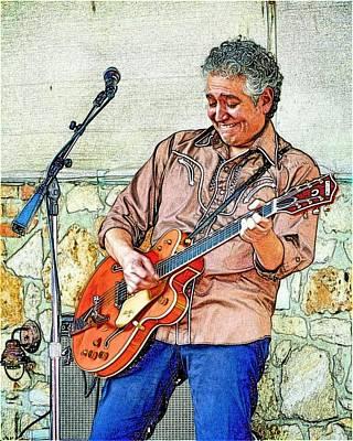 Photograph - Texas Guitarist Sketch by Kristina Deane