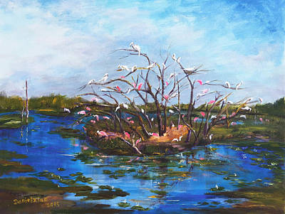 Flycatcher Painting - Texas High Island by Daniel Xiao