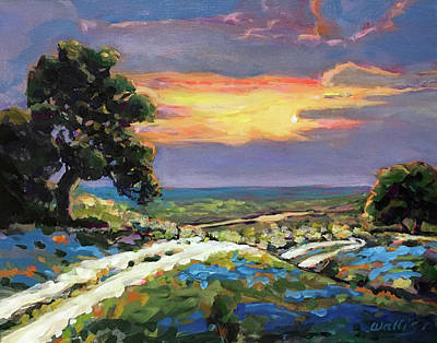 Wall Art - Painting - Texas Hill Country Sunset Vista by Charles Wallis