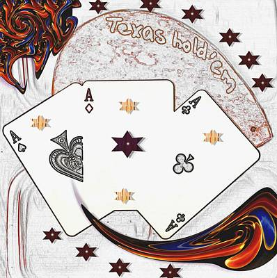 Texas Hold Em Poker Art Print by Pepita Selles