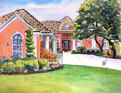 Watercolor Pet Portraits Wall Art - Painting - Texas Home Spanish Tuscan Architecture  by Carlin Blahnik CarlinArtWatercolor