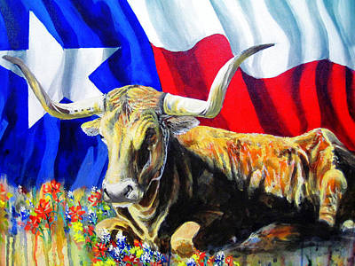 Steer Painting - Texas Icons by Cynthia Westbrook