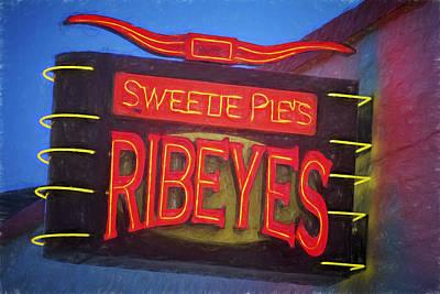 Texas Impressions Sweetie Pie's Ribeyes Art Print by Joan Carroll