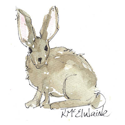 Painting - Texas Jack Rabbit 2 Watercolor And Ink By Kmcelwaine by Kathleen McElwaine