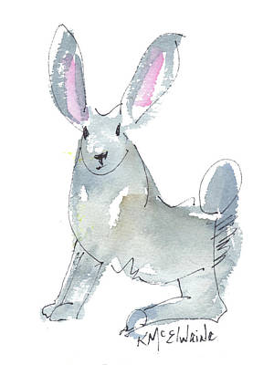 Painting - Texas Jack Rabbit Watercolor Ink Painting By Kmcelwaine by Kathleen McElwaine