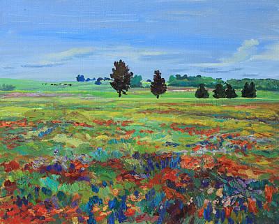 Texas Landscape Bluebonnet Indian Paintbrush Explosion Original