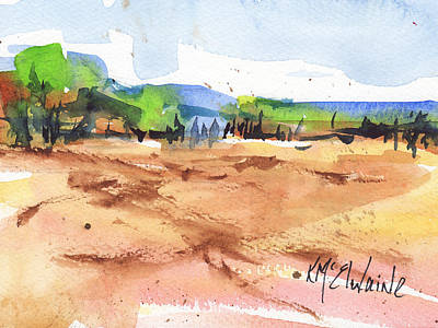 Texas Landscape In Watercolor Painting By Kmcelwaine Art Print by Kathleen McElwaine