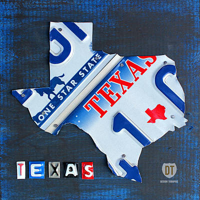 Road Trip Mixed Media - Texas License Plate Map by Design Turnpike