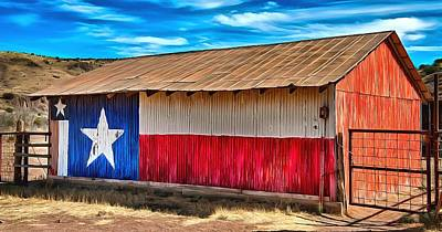 Photograph - Texas Lone Star Barn  by Studio Artist