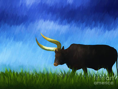Longhorn Pasture Painting - Texas Long Horn  by L Wright