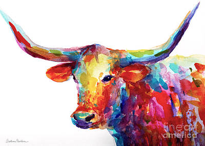 Colorful Contemporary Painting - Texas Longhorn Art by Svetlana Novikova