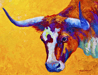 Longhorn Painting - Texas Longhorn Cow Study by Marion Rose