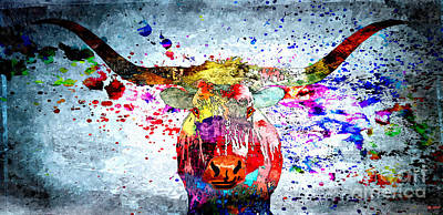 Longhorn Mixed Media - Texas Longhorn by Daniel Janda