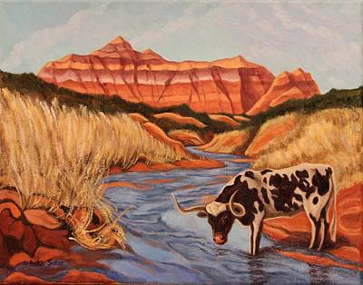 Painting - Texas Longhorn In Palo Duro Canyon by Ruth Soller