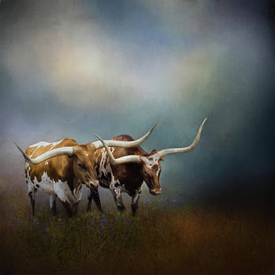 Photograph - Texas Longhorn Pair by David and Carol Kelly