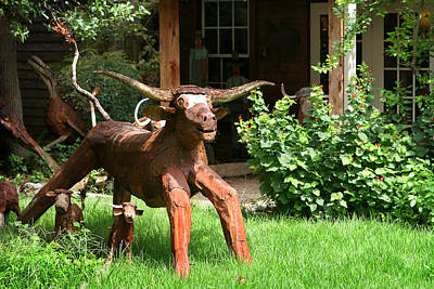 Handcrafted Digital Art - Texas Longhorn Sculpture by Linda Phelps