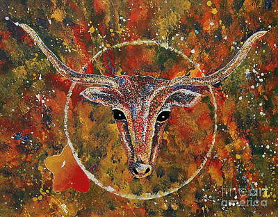 Painting - Texas Longhorn by Tamyra Crossley