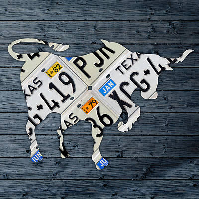Longhorn Mixed Media - Texas Longhorn Vintage License Plate Art On Blue Gray Barn Wood by Design Turnpike