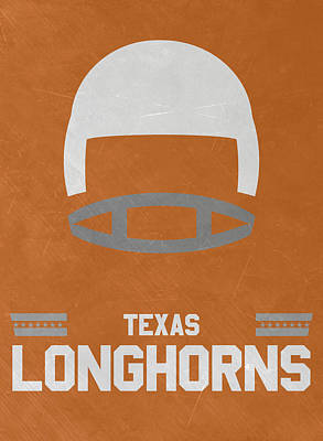 Longhorn Mixed Media - Texas Longhorns Vintage Football Art by Joe Hamilton