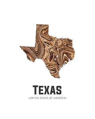Mixed Media - Texas Map Art Abstract In Brown by Studio Grafiikka