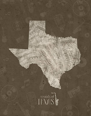 Jazz Royalty-Free and Rights-Managed Images - Texas Map Music Notes 3 by Bekim Art