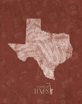 Jazz Royalty-Free and Rights-Managed Images - Texas Map Music Notes 4 by Bekim M