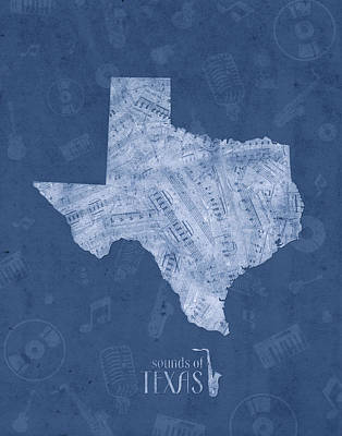 Jazz Royalty-Free and Rights-Managed Images - Texas Map Music Notes 5 by Bekim Art