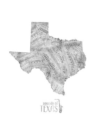 Jazz Royalty-Free and Rights-Managed Images - Texas Map Music Notes by Bekim Art