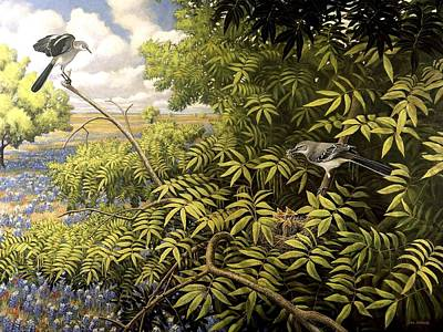 Mockingbird Painting - Texas Mockingbirds At Nest by Jon Janosik