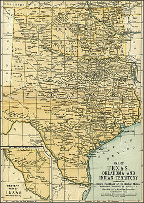 Photograph - Texas Oklahoma Indian Territory Antique Map 1891 by Phil Cardamone