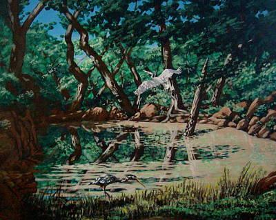 Texas Pond Art Print by David  Larcom