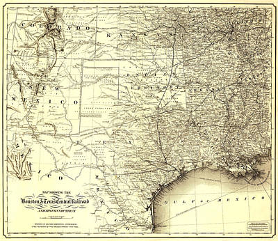 Painting - Texas Railroad Map by Gary Grayson
