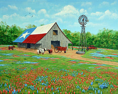 Texas Ranch Barn Art Print by Jimmie Bartlett