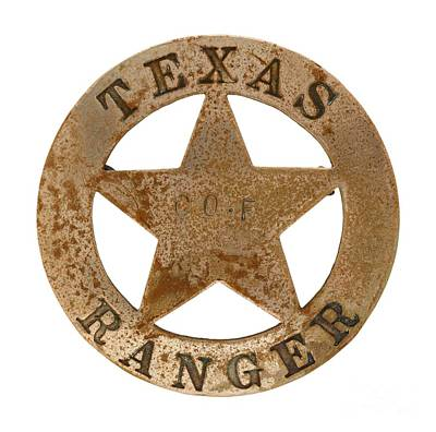 Photograph - Texas Ranger Company F Law Enforcement Badge 1919 by Peter Gumaer Ogden Collection