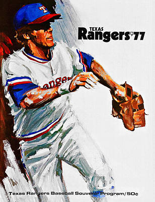 Nolan Ryan Painting - Texas Rangers 1977 Program by Big 88 Artworks