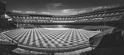 Sports Royalty-Free and Rights-Managed Images - Texas Rangers Ballpark Waiting for Action BW Matte by Joan Carroll