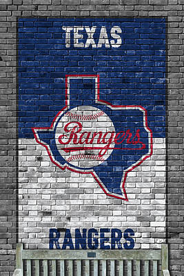 Baseball Painting - Texas Rangers Brick Wall by Joe Hamilton