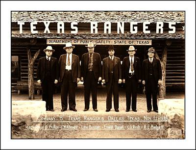 Photograph - Texas Rangers Company B At Their Dallas Headquarters 1938 by Peter Gumaer Ogden