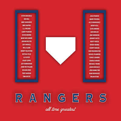 Mlb Digital Art - Texas Rangers Art - Mlb Baseball Wall Print by Damon Gray