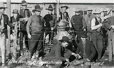 Photograph - Texas Rangers Knab Moonshiners C. 1919 by Daniel Hagerman