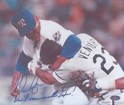 Nolan Ryan Photograph - Texas Rangers Nolan Ryan Don't Mess With Texas The Fight On The Mound by Donna Wilson