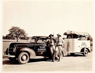 Photograph - Texas Rangers On The Road With Horses In Trailer 1930s by Peter Gumaer Ogden Collection