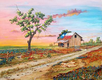 Texas Farm House Painting - Texas Rockin Wildflowers by Michael Dillon