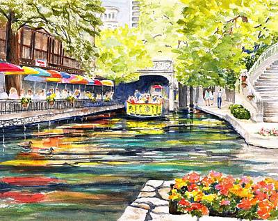 Painting - Texas San Antonio River Walk by CarlinArt Watercolor
