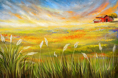Longhorns Painting - Texas Scene - Texas Art by Lourry Legarde